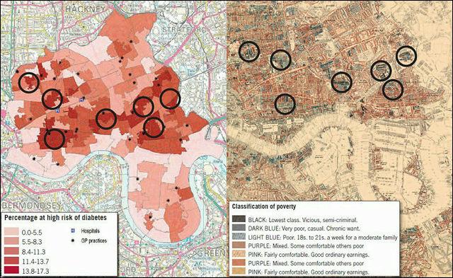 19世紀末のロンドン貧困マップと21世紀の肥満分布マップが奇妙な一致を見せる