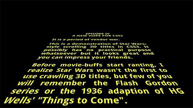 CSS3とHTML5のみで映画「スター・ウォーズ」の文字スクロールを見事に再現