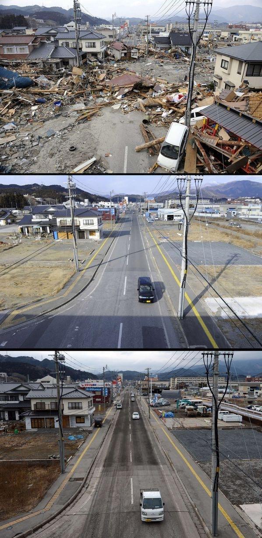 東日本大震災の被災地の同じ場所で2年前、去年、そして2013年の3月を比較した写真39枚