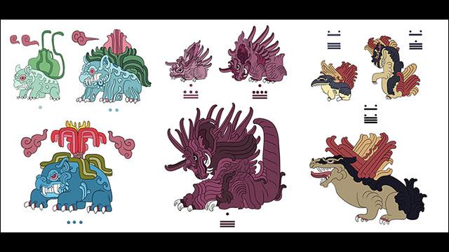 古代マヤ文明風に描かれたポケモンのイラストシリーズpokemayans Dna
