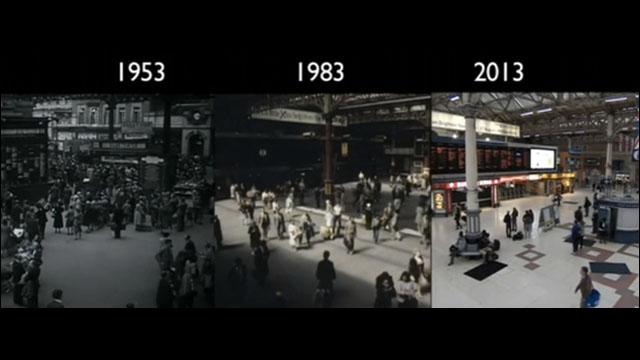 1953年、1983年、2013年と30年毎に撮影された全く同じ路線の3つの映像 ...