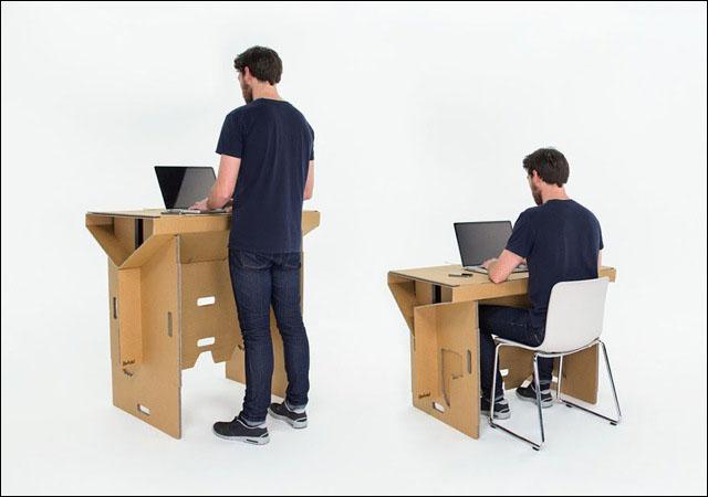頑丈で簡単に持ち運び出来るダンボール製のスタンディング・デスクが出資募集中 Dna