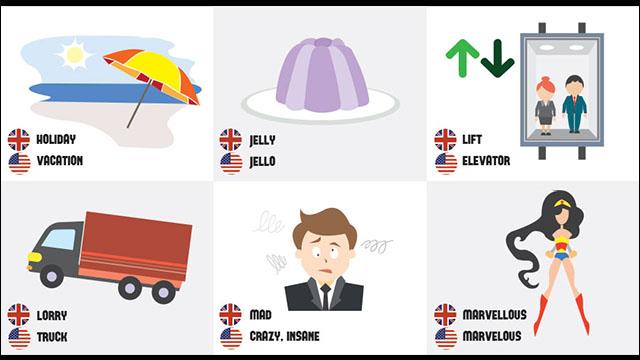 英語と米語で大きく違う単語をイラストでまとめたbritish Vs American